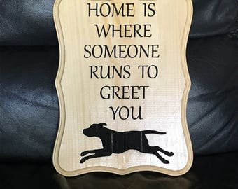Dog Greeting Wooden Plaque