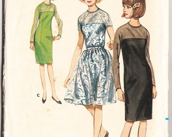 Vintage 1965 Butterick 3856 Sewing Pattern Misses' One-Piece Dress with Two Skirts Size 14 Bust 34