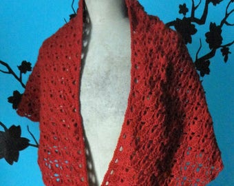 Burgundy shawl crocheted