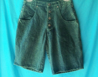 CLEARANCE SALE Overdyed Teal Blue 90s Vintage High Waist Button Fly Shorts Stefano W27 H40