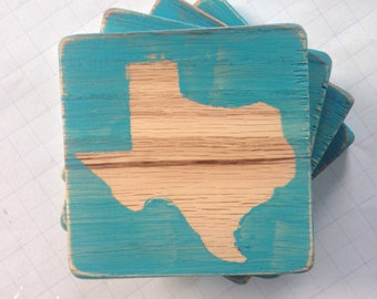 Hard Wood Turquoise Texas Coasters Set of Four MADE TO ORDER