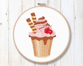 Cute Ice Cream Cup Cross Stitch Pattern, Ice Cream Cross Stitch Pattern, Summer Cross Stitch, Kitchen Cross Stitch Pattern #kt07
