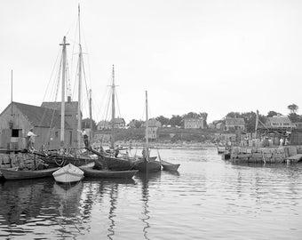 "1906 The Harbor, Rockport, Massachusetts Vintage Photograph 13"" x 19"" Reprint"