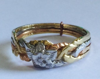 8k  tricolored solid gold 4 band ROSE puzzle ring