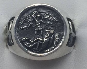 Saint Michael Sterling Silver 925 ring sizes 6-14 New!