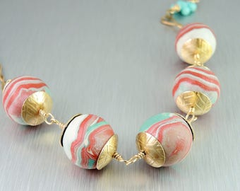 Coral & Aqua Polymer Clay Necklace - Bead and Chain Necklace - Handmade Polymer Beads