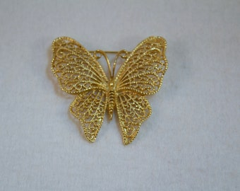 MJ Ent Gold Plated Filigree Butterfly Brooch,  Costume Fashion Brooch