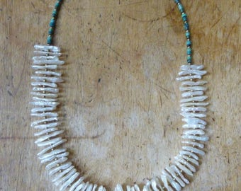 Necklace with Turquoise, Bronze and Heishi Pearls