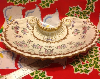 Antique Vincent Dubois beautiful 18th century porcelain ornate curved dish- Made in France