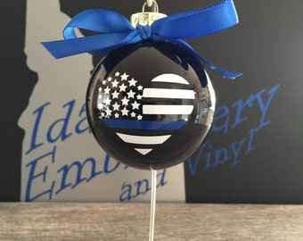 Thin blue line heart ornament, thin blue line, police ornament, thin blue line ornament, thin blue line support, police support, ornaments