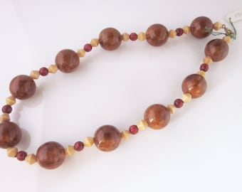 French bakelite and  wood beads necklace