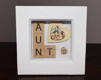 Handmade 'Aunt' wooden scrabble art with heart design