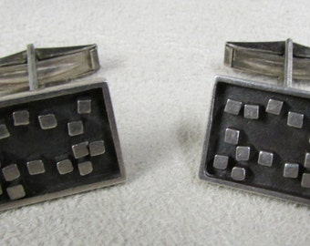 Unique Sterling Silver Rectangular Cuff Links