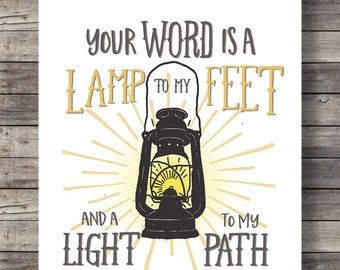 Bible verse | Your word is a light to my path | Psalm 119v105 Hand lettering typography lantern Printable wall art print INSTANT DOWNLOAD