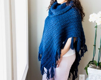 Women's Handmade Poncho with Cowl