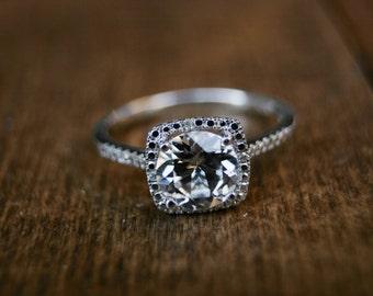 White Sapphire Ring, April,  Birthstone Ring, White Sapphire Birthstone, Sterling Silver, Diamond Ring, Silver, April Gemstone, April Gem