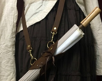 Parasol Holster with NO PARASOL -Black or Brown leather holster, shoulder strap or Belt loops, brass/antique brass/silver, Ren faire cosplay