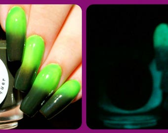 """Color Changing AND Glow in the Dark Nail Polish - FREE U.S. SHIPPING - Green to Black and Glows Aqua - """"Zombie"""" - Thermal - Full Size Bottle"""