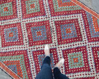 "Vintage Anatolian 10'10"" x 5'11"" Handwoven Embroidered  Wool Cecim Kilim Rug - FREE DOMESTIC SHIPPING"