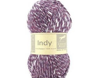 wire INDY knitting color Plum no. 252 white horse