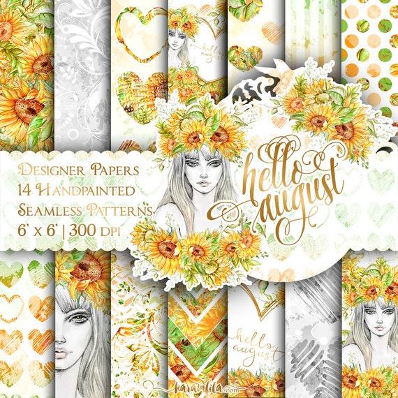 Sunflower Digital Paper Pack Hello August Paper Summer Fashion