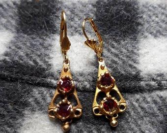 Arlésienne Ruby Garnet gold plated earrings
