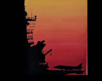 Aircraft Carrier Sunset Silhouette acrylic painting