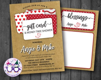 Craft Gift Card Couples Shower Invitation, Bridal Shower Invitation, Blessings Card