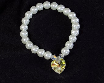 Swarovski Crystal Heart and Pearls Stretch Bracelet