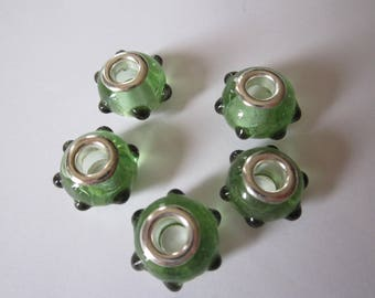 1 Pearl lampwork glass big hole bracelet green dots