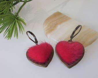 Valentine's Day Earrings, Heart Earrings, Red Dangle Earrings, Romantic Jewelry, Gift for Wife, Minimalist Dangle, Valentines Day Gift
