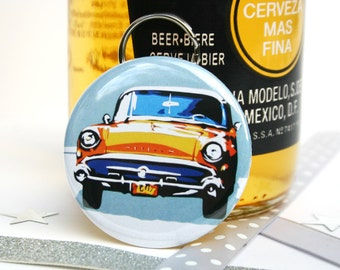 Classic Car Bottle Opener Keyring - Cuban Car Keychain - Father's Day Gifts - Classic Buick Key Fob - Beer Gifts - Utility Gifts