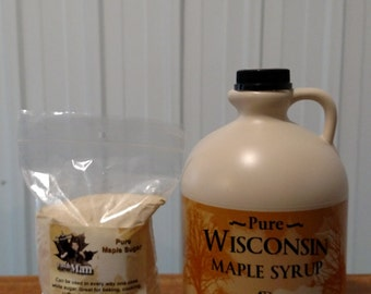 Pure Wisconsin Maple Syrup 1/2 Gallon & 1 Pound Maple Sugar