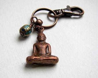 Buddha Keychain Meditating Buddha Turquoise Keychain Yoga Tibetan Buddha Keychain Boho Keychain Spiritual Keychain Buddhist Keychain Keyring