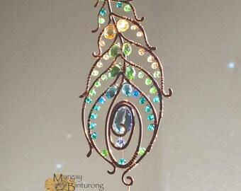 Super sparkly Peacock feather gemstone suncatcher, Swarovski crystal hanging wire art,  home window decor patio garden decoration