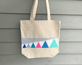 Neon Triangles Tote Bag