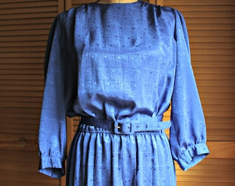 Vintage! Royal blue/silky/belt/dress. Starlo Fashions. 1980s!