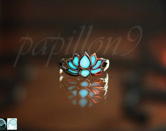 LOTUS Flower / Lotus Toe Ring / GLOW in the DARK / Silver 925 Toe Ring / Toe ring -01 /