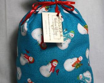 Cloth Gift Bags Fabric Gift Bags Small Reusable Eco Friendly Gift Sacks Snowmen Christmas Gift Bags