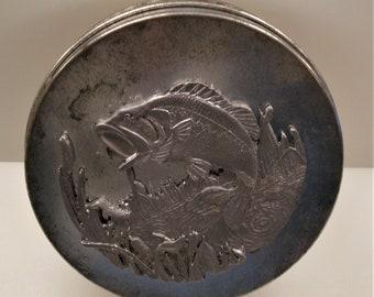 Vintage Round Tin & Pewter Fish Tin - Angler Tin - Great Vintage Condition!!