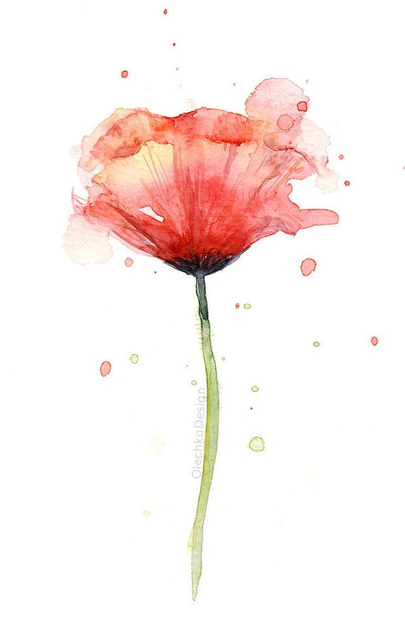 Red poppy watercolor flower art print poppies atmospheric mightylinksfo