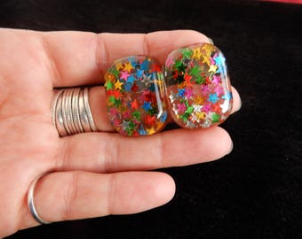 handmade resin multicolour big statement earrings with incrusted stars glitter