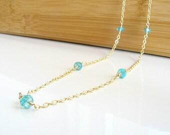 Apatite Long Necklace, Blue Gemstone Necklace, Long Gemstone Necklace, Apatite Jewelry, Teal,  Gemstone Station Necklace, Vivid Blue Stone