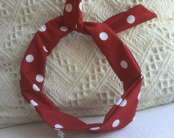 50s style hairband ~ Wired or unwired ~ Vintage retro hair accessory ~ Polka dot ~ Handmade, 100% cotton x