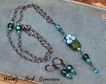 Forget Me Not Necklace and Earring Set - Handmade Lampwork Glass Bead, Garden, Fairy, Wedding, Blue, Green, Flower