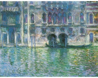 Hand-cut wooden jigsaw puzzle. PALAZZO VENICE ITALY. Claude Monet Impressionist. Impressionism. Wood, collectible. Bella Puzzles.