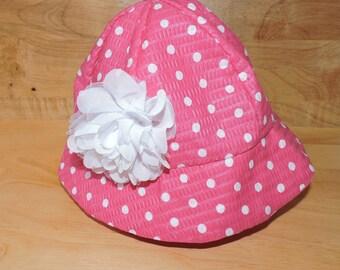 Polka Dot and Flower Toddler Sun Hat