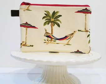 Palm Tree Ocean Cosmetic Makeup Bag, Vacation Zipper Pouch, Coastal Travel Bag, Zipper Bag by Oh Koey in Palm Trees and Hammock