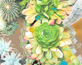 Succulents Art Print | Mixed Media Painting | Floral Photograph | Katie Daisy | 8x10 | 11x14