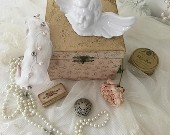 Vintage Rosary & Box 800 Silver Communion Confirmation CoeursDeCaschel Mother's Day spring Brocante vintage Edwardian style prayer necklace
